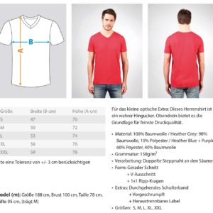 Teufelskraft Pattern Vneck  – Herren V-Neck Shirt